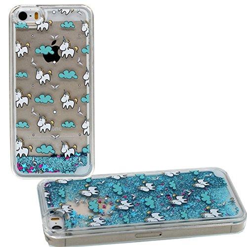 Schutzhülle Apple iPhone 5 5S SE Niedlich Karikatur Einhorn Muster Hülle Case Cover Clear Transparent Hardcase Glitzer Pulver Wasser Flüssigkeit Stil