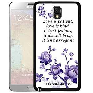 1 Corinthians 13:4 Bible Verse with Purple Flowers (Samsung Galaxy Note III 3 N9000) Hard Snap on Phone Case Cover