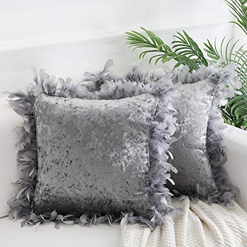 Decorative Feather Throw Pillow Covers 18x18 Inches, Masonry Velvet Throw Pillows Cushion Covers for Sofa Couch Bed, Set of 2, Silver Grey (Cushions Grey Silver)