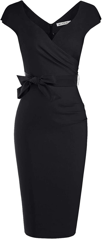 MUXXN Women's Vintage 1950s Style Wrap V Neck Tie Waist Formal Cocktail Dress: Clothing