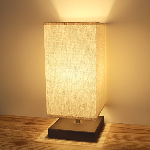 Bedside Table Lamp,Acaxin Wood Nightstand Lamp Bedside Desk Lamp Minimalist Simple Desk Lamp with Square Flaxen Fabric Shade for Bedroom,End Table,Living Room,Coffee Room,Dinning Room