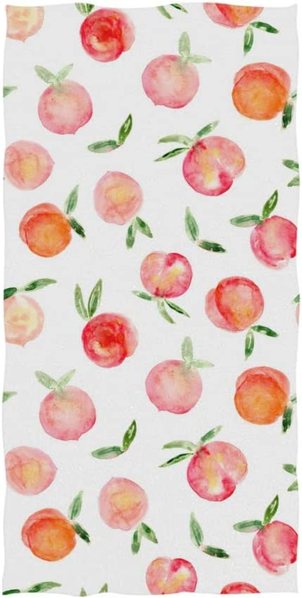 ZZAEO Seamless Watercolor Painted Peach Fruit Towel Microfiber Hand Towel Ultra Lightweight Single-Sided Printing Fingertip Towel for Sport Gym for Both Adults and Kids-30 x 15 inches