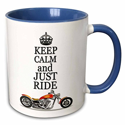 3dRose RinaPiro - Motorcycles Quotes - Keep calm and just ride. Cool motorcycles saying. - 15oz Two-Tone Blue Mug (mug_220704_11)
