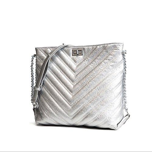 Handbag Bolsa De Verano, Nuevo Bolso De Hombro Coreano, Bolsa De Mensajero Simple. Summer Bag Handbag New Korean Shoulder Bag, Messenger Bag Simple. Ladies Big Bag. Big Bag Ladies. A+ (color : Cromo) La Plata A + (color: Chrome) Silver
