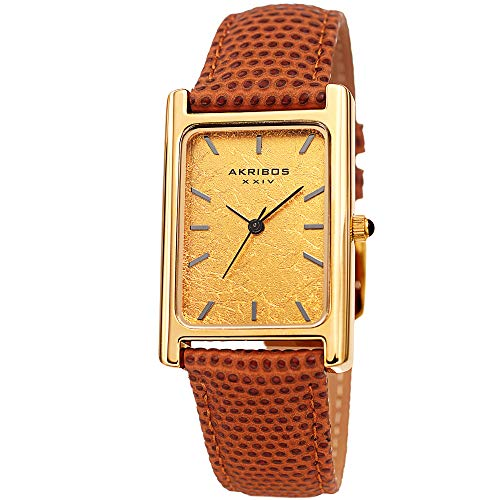Akribos XXIV Men's Watch - Skinny Lizard Embossed Brown Genuine Leather Band, Authentic Platinum Leaf Dial - Gold Tone Rectangular Case - AK1045BR