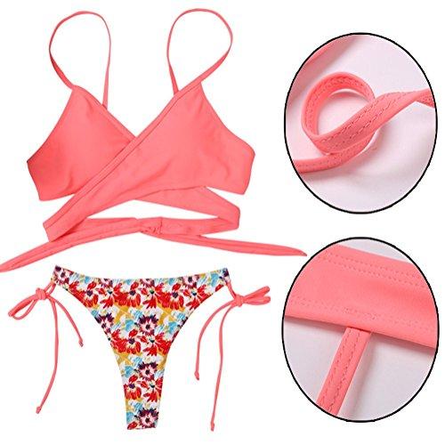 L Benda Bikini Pink up Croce Bagno Due Pezzi Da Appeso Costume Zhang1 Vita Set Bassa Sexy s Donna Spiaggia Collo Push Bagno Abiti fq5nwRX