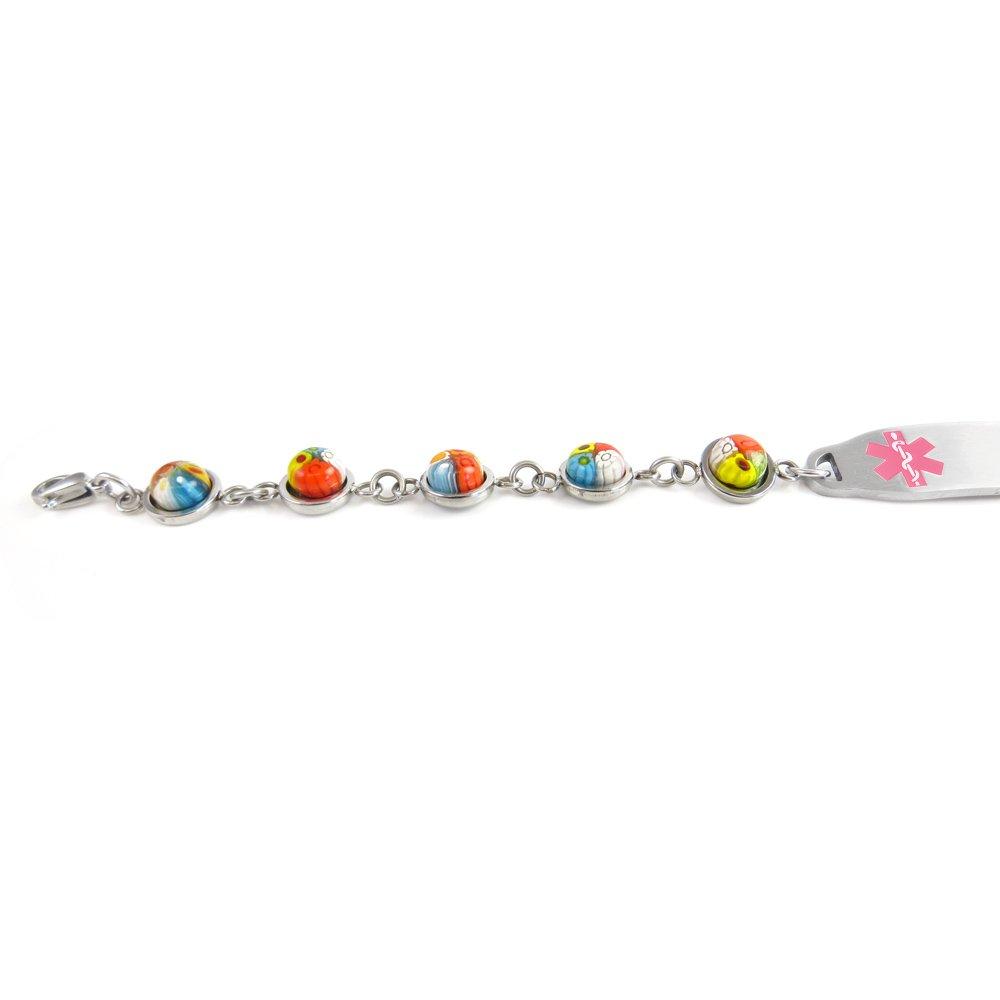 Millefiori Glass Pre-Engraved /& Customizable Stroke Patient Medical Bracelet My Identity Doctor