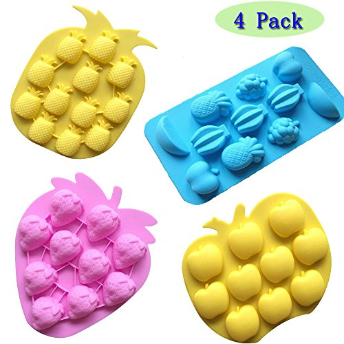 Fruit Mold - Sakolla Set of 4 Fruits Series Silicone Fondant Mold Candy Mold Strawberries Pineapples Apples Grapes Chocolate Mold
