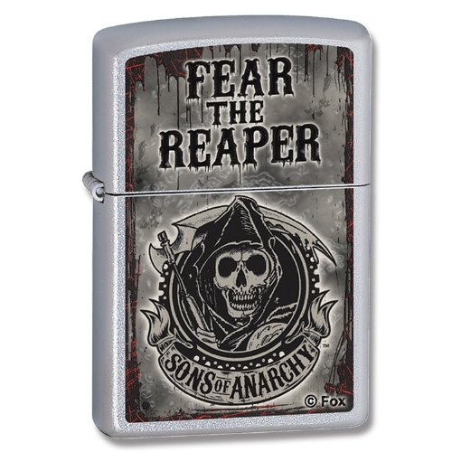 Zippo Sons Of Anarchy Fear The Reaper Pocket Lighter  Satin Chrome