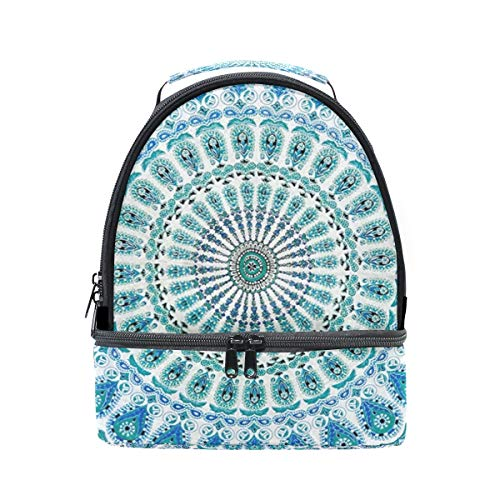 Lunch Box Gallery Mandala Green Womens Insulated Lunch Bag Kids Zipper Lunch Tote