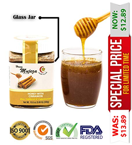 Mujeza Raw Honey with Ceylon Cinnamon - Pure Natural Honey - Unheated unfiltered unpasteurized - Kosher Certified (300g / 10.6oz) ()
