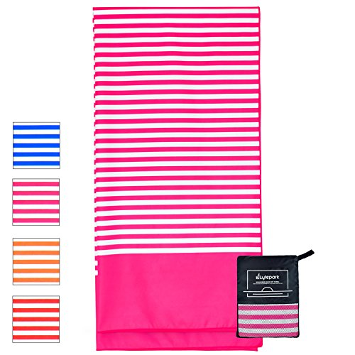 Microfiber Beach Towel for Travel - Oversized XL 70 x 35 Inch - Quick Dry, Sand Free, Extra Large, Lightweight with Zipper Bag - Compact, Perfect for Travel Towel and Beach Blanket (Pink Hibiscus)