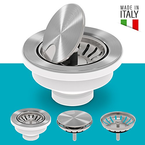 (KRAUS VersiDrain Assembly With Strainer Basket, FlipCap and Water Stopper, Stainless)