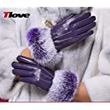 Gloves Female Winter Thick Warm Short Leather Gloves, Female Winter Cute Touch Screen Gloves Female