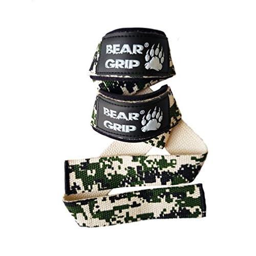 Bear Grip Bandes de soutien pour poignets 100% coton qualité supérieure avec rembourrage en néoprène, coutures doubles robustes, grip en gel et plus de longueur, Digital Camo