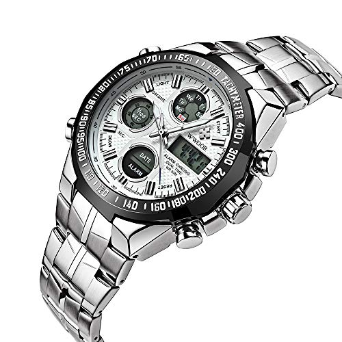 WWOOR Men Waterproof Sport Quartz Digital Dual Display Watches Male Army Military Wrist Watch