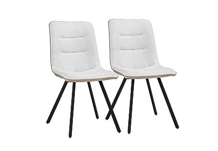 Amazon.com: Juego de 2 sillas de comedor tela de lino cojín ...