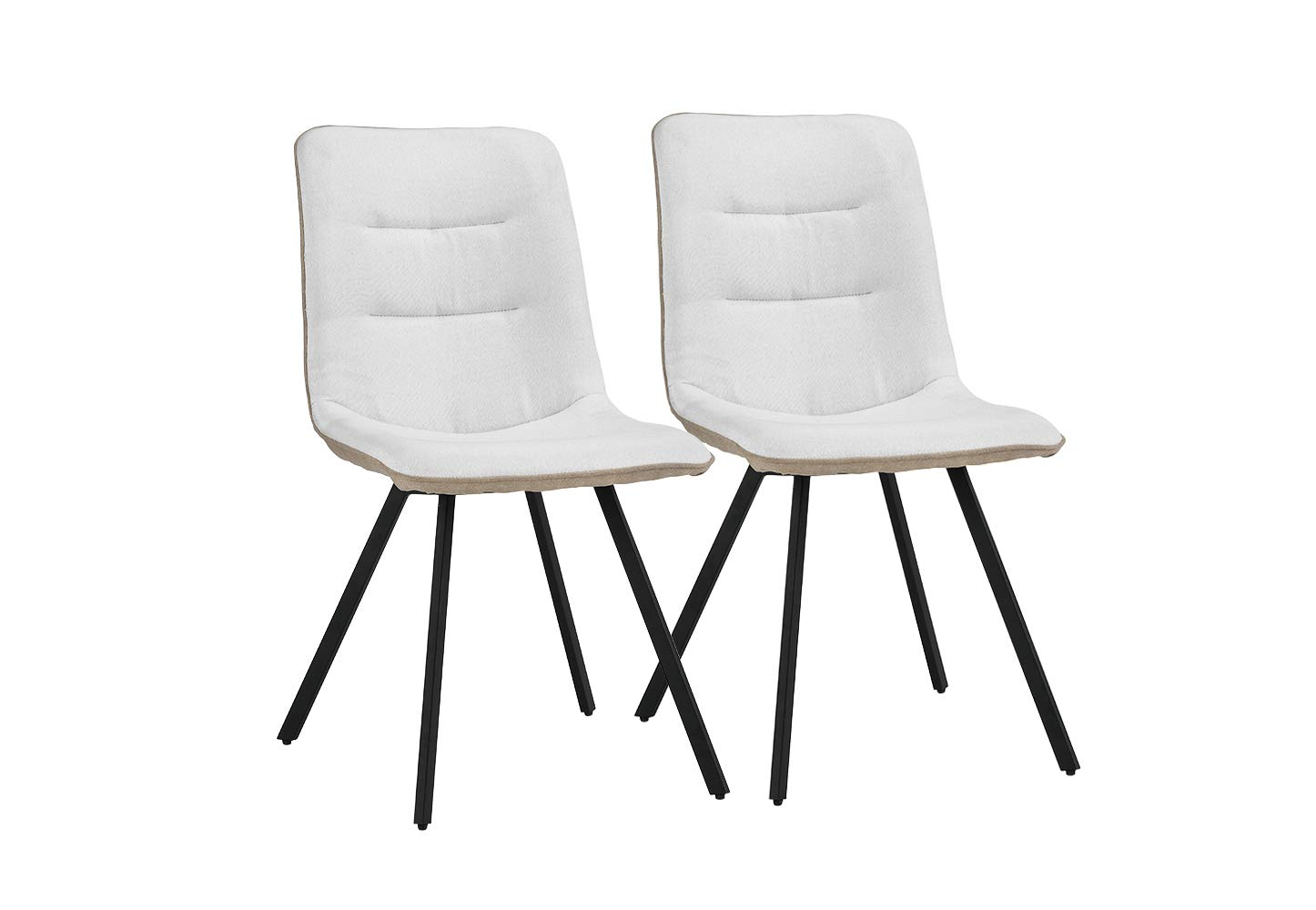 Upholstered 2 Piece Linen Dining Chairs, 19'' W inches (White)