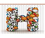 iPrint American Shower Curtain [ Letter H,Letter H Stacked from Gaming Balls Alphabet of Sports Theme Competition Activity Decorative,Multicolor ] Polyester Fabric Kids Bathroom Curtain Designs