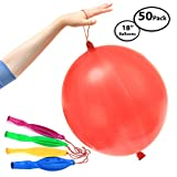 50-Pack of Jumbo Punching Ball Balloons for Parties - Inflates Up To 18' Inch - Assorted Beautiful Colors - 100% Pure Latex - Safe for Children and Adults - Long Neck for Easy Inflation and Tying