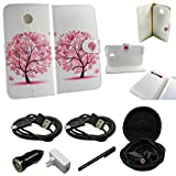 Mstechcorp - Nexus 6 Case, Nexus 6 Case, Google Nexus 6 Case PU Leather Magnetic Flip Design Wallet Case for Motorola Google Nexus 6 - Includes [Car Charger + Data Cable] + [Wall Charger + Data Cable] + [Touch Screen Stylus] + [Hands Free Earphone With Carrying Case] (PINK TREE)