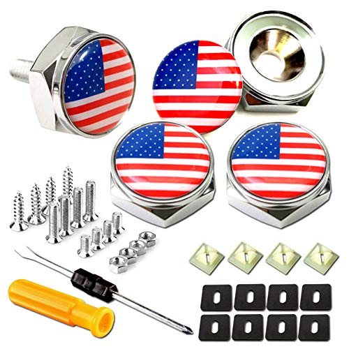 License Plate Screw Bolt Cap-American Flag Logo Metal Car License Plate Bolts Frame Screws Cover with USA Flag Sticker, License Plate Frame Security Fastener Kit with Anti-Rattle Foam Pads