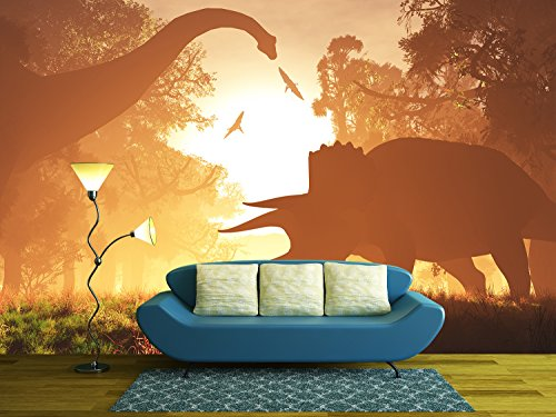 Dinosaurs in Prehistoric Jungle in the Sunset Sunrise 3d Artwork