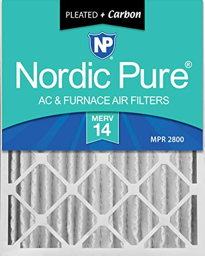 - Nordic Pure 16x25x4 (3-5/8 Actual Depth) MERV 14 Plus Carbon Pleated AC Furnace Air Filters, 2 Pack