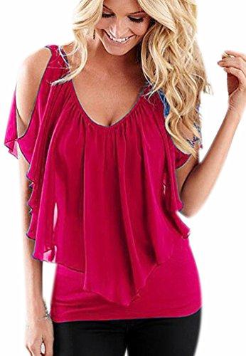 Colore Casual Puro Fuxiang Collare Camicette Manica Donna Blusa T Shirt Shirt Camicie Camicetta Tops Rosso Camicia Chiffon Corta Camicetta V Bluse aaqOWvwTF