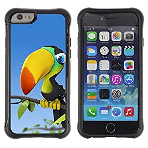 Suave TPU Caso Carcasa de Caucho Funda para Apple Iphone 6 / Parrot Rainforest Bird Colorful Big Beak / STRONG