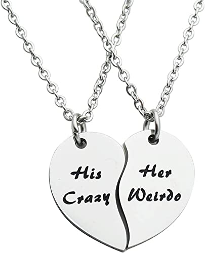 VNOX 4 Pcs Matching Couple Heart Puzzle Piece Necklace Pendant with Yin Yang Distance Bead Bracelet Gift for Him and Her Couples