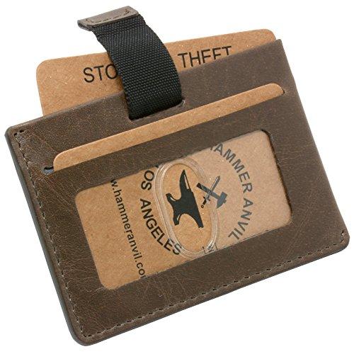 Hammer Anvil Mens Minimalist Front Pocket Wallet RFID Safe Leather Easy Pull Tab Gray -