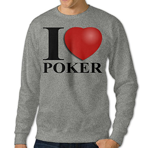PPAP Men's I Love Poker Crew - Neck Pullover Long Sleeve Hooded Sweatshirt Ash Size M