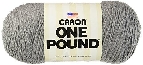 Caron  One Pound Solids Yarn - (4) Medium Gauge 100% Acrylic - 16 oz -  Medium Grey Mix- For Crochet, Knitting & Crafting