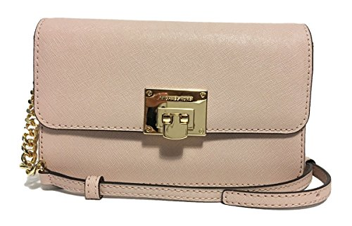 MICHAEL Michael Kors Tina Clutch Crossbody with Detachable Wallet (Signature MK Vanilla/Ballet) by Michael Kors