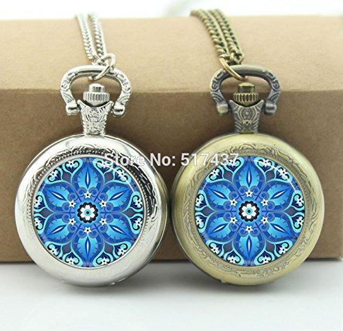 Pretty Lee Blue Kaleidoscope Pocket Watch Photo Locket Necklace Silver Pocket Watch Necklace (Card Wham Christmas)