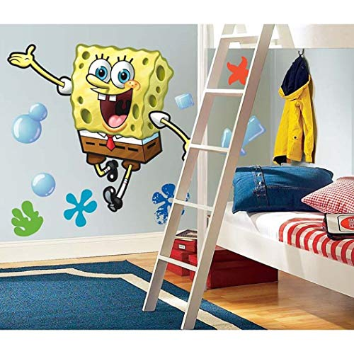 MN 23 Piece Kids Yellow Brown White Spongebob Squarepants Wall Decals Set, Cartoon Themed Wall Stickers Peel Stick, Fun Animated Sea Water Ocean Bubbles Decorative Graphic Mural Art, Vinyl