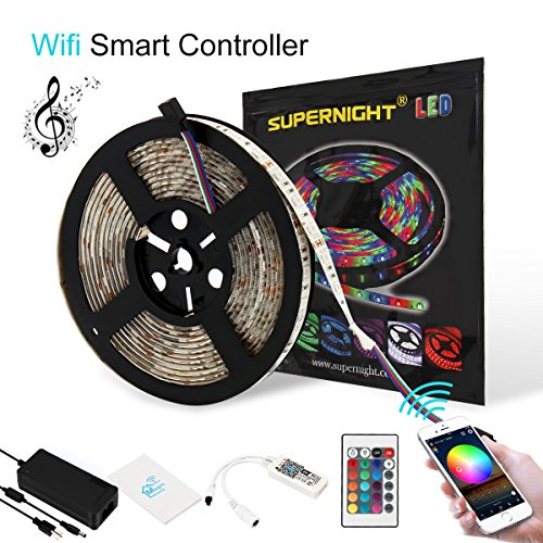 SUPERNIGHT RGB LED Light Strip 5050 Waterproof,Wifi Wireless Android IOS Smart Phone Control,16.4ft 300leds Rope Lighting with Power Supply, Compatible with Alexa Google Home