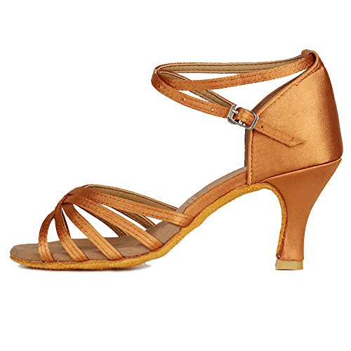Roymall Women's Brown Satin Latin Dance Shoes,Model 213-7, 6 B(M) US by Roymall