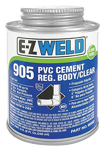 (Ez Weld Cement, Clear, 16 oz., for PVC Pipe and Fittings Up To 4