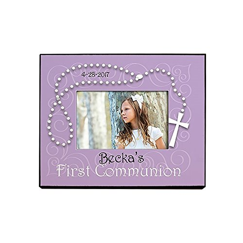 GiftsForYouNow First Communion Personalized Printed Frame, Purple