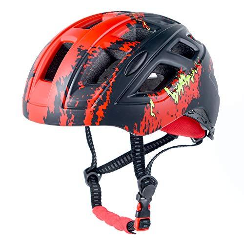 Crazy Mars Kids Bike Helmet Boys Girls Bicycle Skateboard Helmet Red and Black M