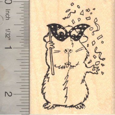 New Year Guinea Pig Rubber Stamp, Mardi Gras, Party by RubberHedgehog