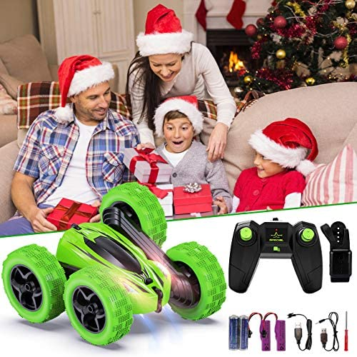 Remote Control Car, Fixget 2.4GHz Electric Race Stunt Car,four wheel drive Double Sided 360° Rotating RC Cars with LED Headlights, High Speed Off Road Truck for three+Year Old Kids Birthday Xmas Gift(Battery Included)