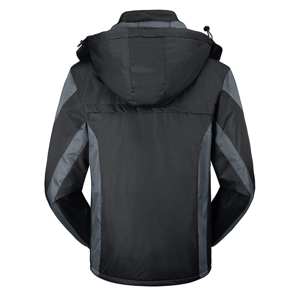 Men's Winter Outdoor Cashmere Thickening Hoodie Zipper Sport Hat Removable Waterproof Casual Sports Coat Black by CHLZYD