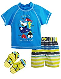 Wippette Little Boys Sea Animal Creatures Rashguard Swim Set with Flip Flops, Blue, 3T