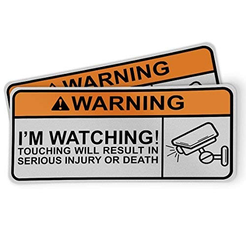 Funny Warning Sticker for Motorcycles, Riders and Gifts - I'm Watching! Touching Will Result in Serious Injury and Death (2 ()
