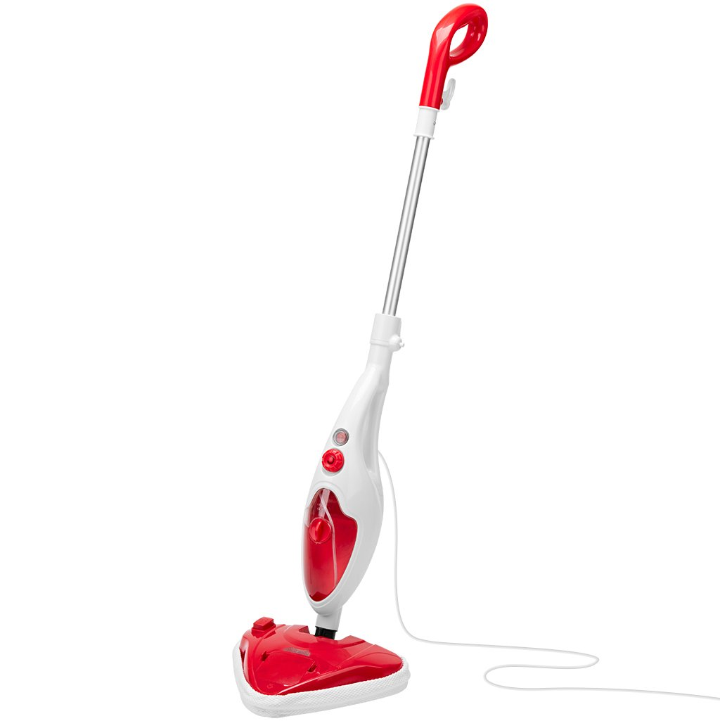 Steam Mop Cleaner, 1500w Multi-Surface All-In-One Floor Handheld Steam Cleaner Floor Steamer with 13 Accessories for Cleaning Tile Laminate Marble Sealed Hardwood Floors Carpet Furniture Fabrics Red