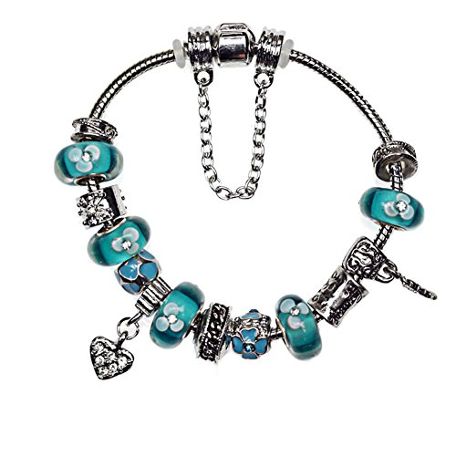 Pandora Style Silver Tone Metal and Glass Bead Key and Heart Charm Bracelet Diamond Accent Lucky Clover (8.6 Inches, Turquoise)