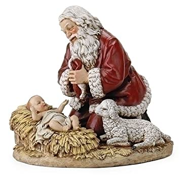 Roman Set of 2 Subtle Colored Kneeling Santa Claus with Baby Jesus Christmas Figures 8.75